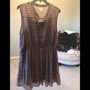 NWT Mossimo Target chiffon gray orange dress XXL